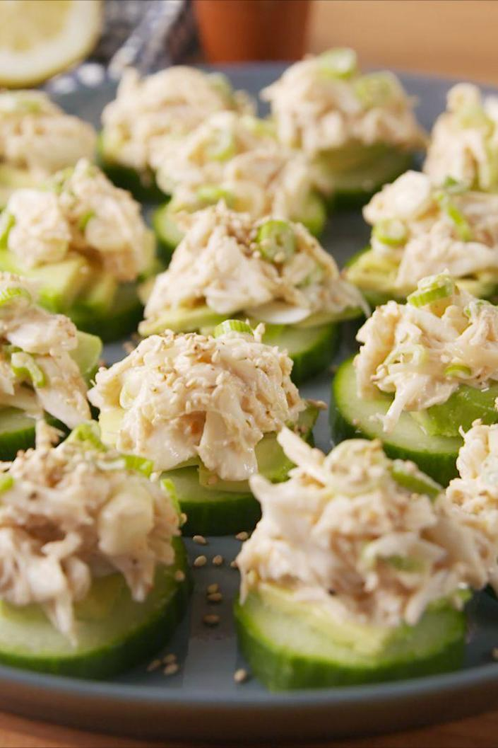 """<p>A taste of the golden state in one adorable bite.<br></p><p>Get the recipe from <a href=""""https://www.delish.com/cooking/recipe-ideas/recipes/a51750/california-sushi-bites-recipes/"""" rel=""""nofollow noopener"""" target=""""_blank"""" data-ylk=""""slk:Delish"""" class=""""link rapid-noclick-resp"""">Delish</a>.</p>"""