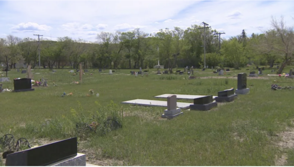 Hundreds of unmarked graves have been found at the former Marieval Indian Residential School gravesite. Source: CBC