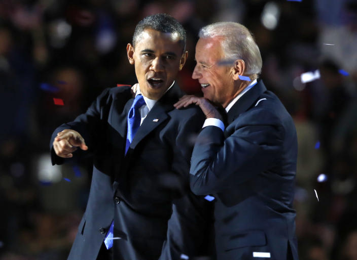 President Barack Obama with Vice President Joe Biden on election night in 2012. (Reuters/Larry Downing)