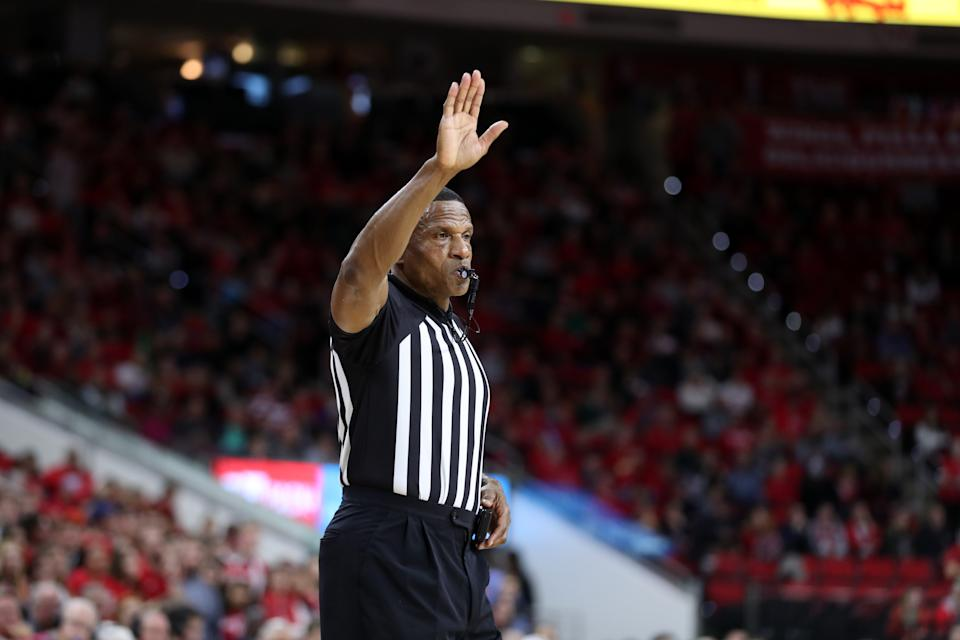 RALEIGH, NC - JANUARY 9: Official Ted Valentine during a game between Notre Dame and NC State at PNC Arena on January 9, 2020 in Raleigh, North Carolina. (Photo by Andy Mead/ISI Photos/Getty Images).