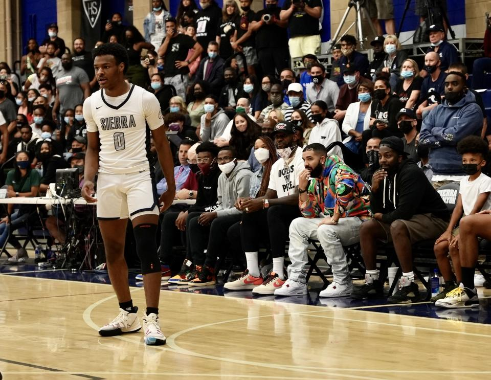 Bronny James made his return Friday night for Sierra Canyon in front of his father and Drake. (Krysten Peek/Yahoo Sports)