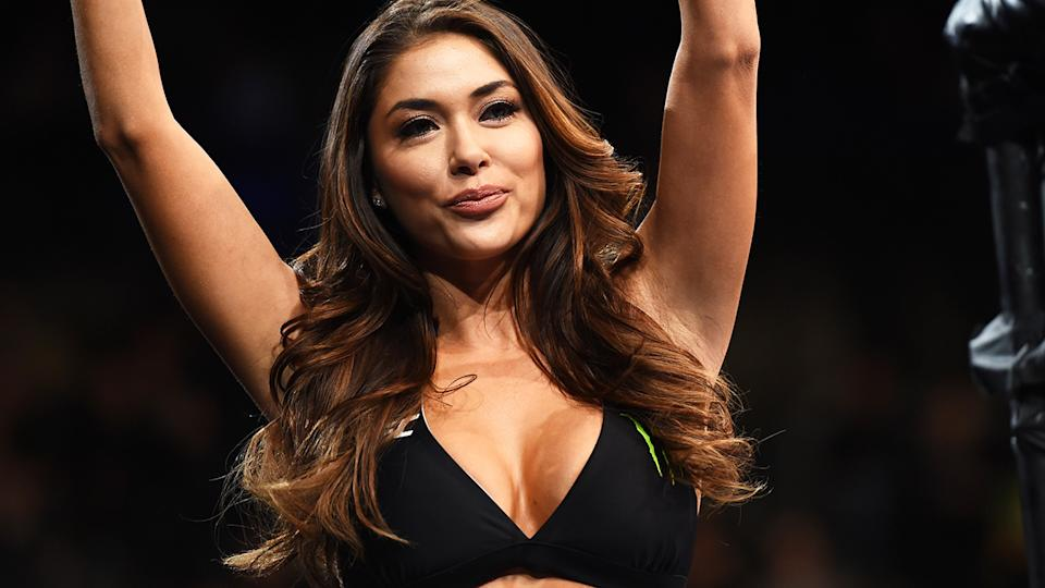 Well known UFC ring girl Arianny Celeste took to Instagram to clap back at Khabib Nurmagomedov, after the former champ said their job was redundant. (Photo by Jeff Bottari/Zuffa LLC/Zuffa LLC via Getty Images)