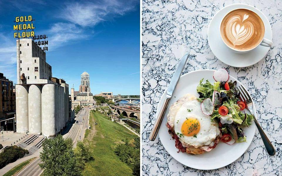 From left: A view along the West River Parkway, in Minneapolis; a croque madame at Parallel, an espresso bar in Minneapolis.