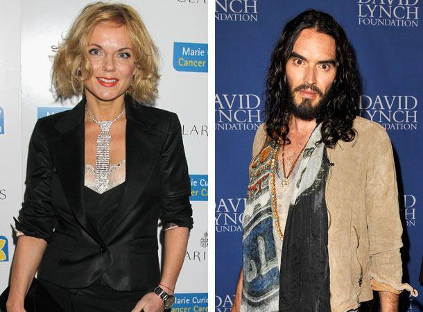 Geri Halliwell and Russell Brand. Credit: Getty Images