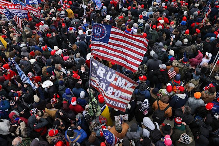 Donald Trump supporters gather outside the U.S.Capitol building in Washington D.C. on January 06, 2021. Pro-Trump rioters stormed the Capitol as lawmakers were set to sign off on President-elect Joe Biden's electoral victory in what was supposed to be a routine process headed to Inauguration Day. (Tayfun Coskun/Anadolu Agency via Getty Images)