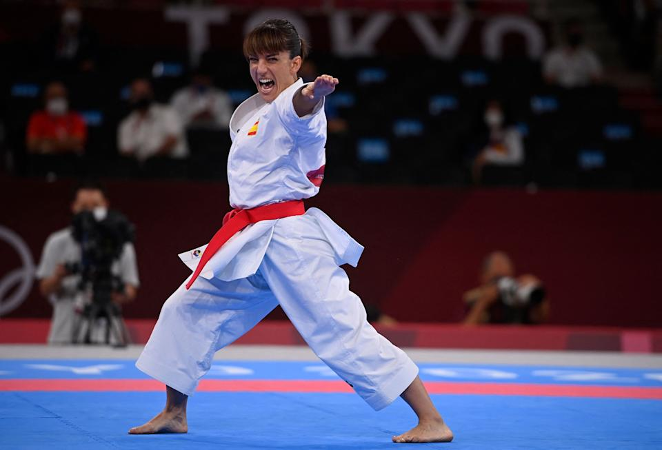 Spain's Sandra Sanchez Jaime performs in the women's kata ranking round of the karate competition during the Tokyo 2020 Olympic Games at the Nippon Budokan in Tokyo on August 5, 2021. (Photo by Alexander NEMENOV / AFP) (Photo by ALEXANDER NEMENOV/AFP via Getty Images)