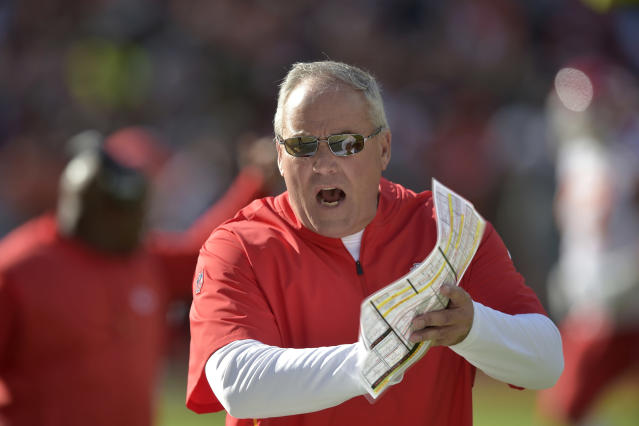 File-This Nov. 4, 2018, file photo shows Kansas City Chiefs defensive coordinator Bob Sutton walking on the sideline during an NFL football against the Cleveland Browns in Cleveland. The Chiefs have fired Sutton after a second-half collapse in the AFC championship game, including an overtime period in which Kansas City failed to stop the New England Patriots on what turned out to be the only possession. The Patriots won the game 37-31 to reach their third consecutive Super Bowl. Chiefs coach Andy Reid announced the firing in a statement Tuesday, Jan. 22, 2019, one day after he said he was evaluating all aspects of the team. Reid declined to address Sutton specifically. (AP Photo/David Richard, File)