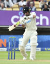 New Zealand's Will Young bats during the second day of the second cricket test match between England and New Zealand at Edgbaston in Birmingham, England, Friday, June 11, 2021. (AP Photo/Rui Vieira)