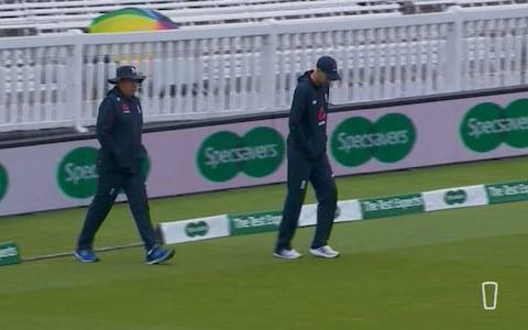 <span>Bayliss and Root out on the park</span> <span>Credit: Sky </span>
