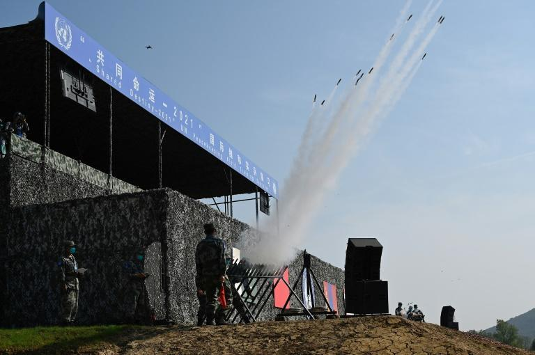 Troops from Thailand, Mongolia and Pakistan joined China's armed forces in its the country's first multinational peacekeeping exercise (AFP/Jade Gao)