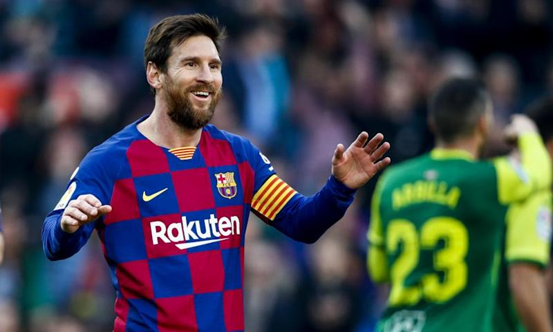 Lionel Messi took his La Liga season tally to 18 with four goals against Eibar.