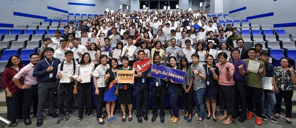 Sunway College A-Level high achievers with their lecturers