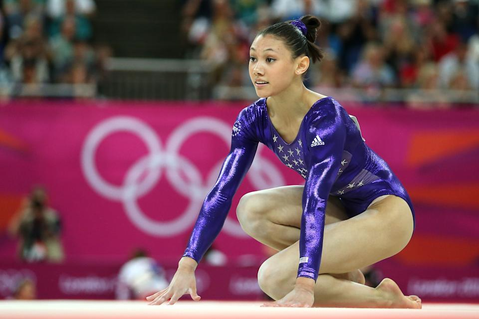 """<a href=""""http://yhoo.it/NW5jXW"""" rel=""""nofollow noopener"""" target=""""_blank"""" data-ylk=""""slk:Kayla Ross"""" class=""""link rapid-noclick-resp"""">Kayla Ross</a>, who won a gold medal with the """"Fierce Five"""" U.S. women's gymnastics team, has Japanese, African American, Filipino and Puerto Rican heritage. (Photo by Ronald Martinez/Getty Images)"""