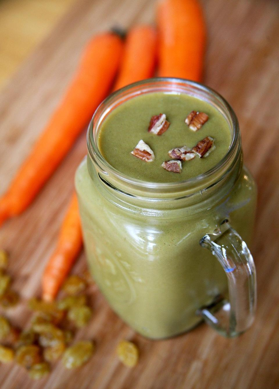 """<p>This <a href=""""https://www.popsugar.com/fitness/Vegan-Carrot-Cake-Smoothie-34586392"""" class=""""link rapid-noclick-resp"""" rel=""""nofollow noopener"""" target=""""_blank"""" data-ylk=""""slk:carrot cake smoothie"""">carrot cake smoothie</a> offers 19 grams of filling protein and over nine grams of fiber. </p>"""