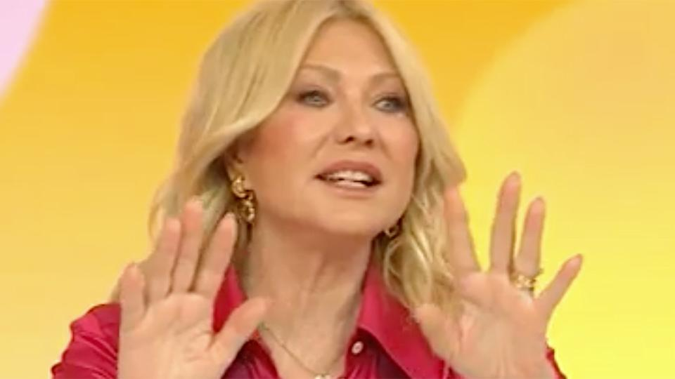Kerri-Anne Kennerly in a red top on Studio 10