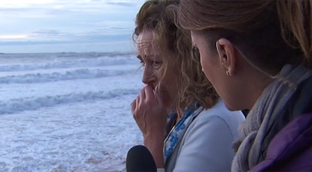 Ms Silk was devastated to find up to 25 metres of her property had been washed out to sea during the wild weather. Photo: 7News