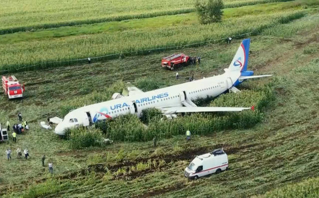 The Russian Ural Airlines' A321 plane is seen after an emergency landing in a cornfield outside Moscow on Thursday (AP)
