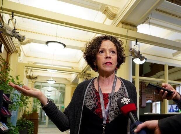 CDN-NDG borough mayor Sue Montgomery, seen in a file photo, has won her legal challenge to a suspension by the Quebec Municipal Commission. (Charles Contant/CBC - image credit)