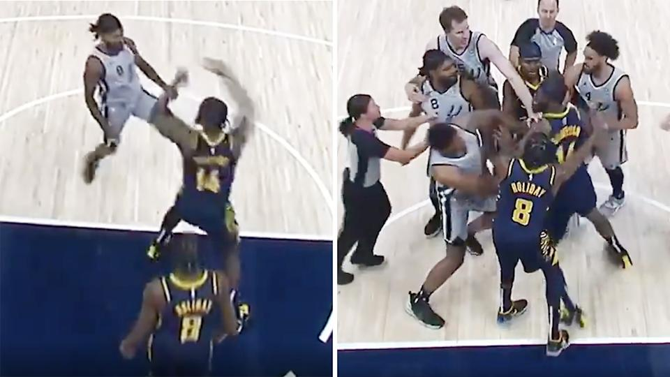 Patty Mills confronted Indiana big man JaKarr Sampson after he was shoved by the fired up Pacer. Picture: FS Indiana