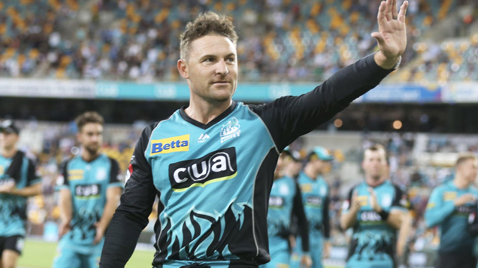 Brendon McCullum of the Heat walks off after playing his last home match during the Brisbane Heat v Melbourne Stars Big Bash League. (Photo by Chris Hyde/Getty Images)