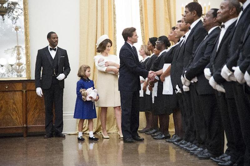 "This film image released by The Weinstein Company shows, from second left, Chloe Barach as Caroline Kennedy, Minka Kelly as Jackie Kennedy, James Marsden as President Kennedy and Forest Whitaker as Cecil Gaines, third from right, in a scene from ""Lee Daniels' The Butler."" (AP Photo/The Weinstein Company, Anne Marie Fox)"