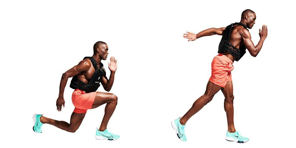 <p>Start by getting your heart rate up. With your arms in sprinting position, lunge forward until your knee almost touches the ground (<strong>A</strong>), then jump into the air, switching legs (<strong>B</strong>) so you land in a lunge with the opposite leg forward. Repeat.</p>