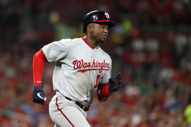 Washington Nationals' Victor Robles heads to first on an RBI single during the sixth inning of a baseball game against the St. Louis Cardinals on Tuesday, Sept. 17, 2019, in St. Louis. (AP Photo/Jeff Roberson)