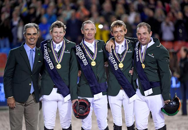 Equestrian - FEI European Championships 2017 - Ullevi Stadium - Gothenburg, Sweden - August 25, 2017 - The Irish team poses with their gold medals after winning the Competition Jumping Event. TT News Agency/Pontus Lundahl via REUTERS ATTENTION EDITORS - THIS IMAGE WAS PROVIDED BY A THIRD PARTY. SWEDEN OUT. NO COMMERCIAL OR EDITORIAL SALES IN SWEDEN