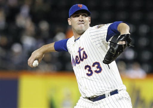 New York Mets' Matt Harvey (33) delivers a pitch during the first inning of a baseball game against the Philadelphia Phillies, Wednesday, Sept. 19, 2012, in New York. (AP Photo/Frank Franklin II)