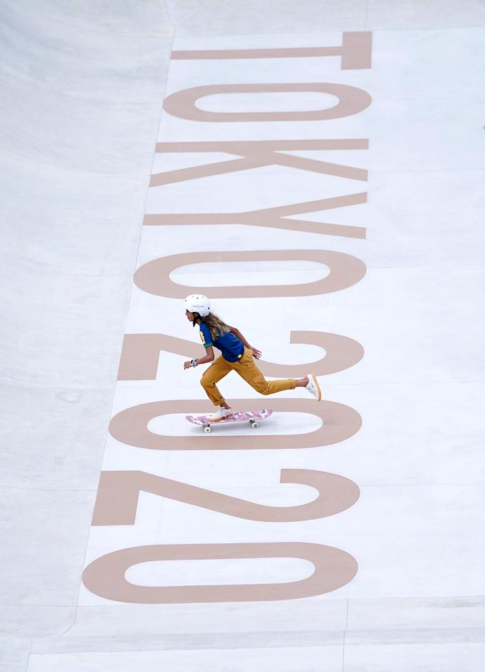 <p>Brazil's Rayssa Leal during the Women's Street Prelims Heat 4 at the Ariake Urban Sports Park on the third day of the Tokyo 2020 Olympic Games in Japan. Picture date: Monday July 26, 2021. (Photo by Mike Egerton/PA Images via Getty Images)</p>