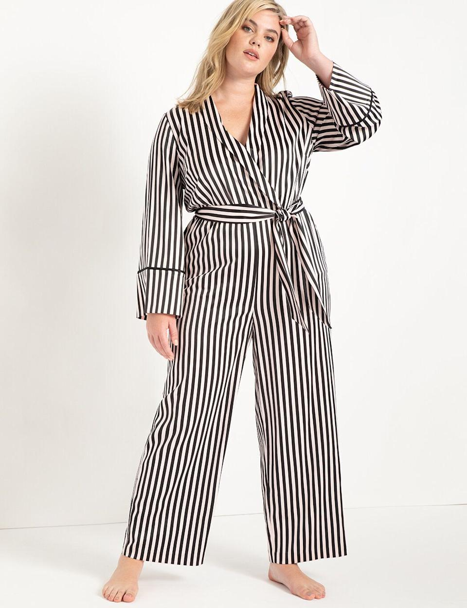 """I've been feeling really burned out with everything in my closet these days. I'm tired of wearing the same things, but my dressier items just don't make sense much these days. I noticed that <a href=""""https://fave.co/374oWz5"""" target=""""_blank"""" rel=""""noopener noreferrer"""">Eloquii is having a massive Black Friday sale for half-off everything</a> (and with special markdowns on select items), so I'm using the sale as an excuse to stock up on some cuter loungewear. I love the sleek-yet-professional look of <a href=""""https://fave.co/374oWz5"""" target=""""_blank"""" rel=""""noopener noreferrer"""">this satin lounge jumpsuit</a> and can't wait to wear it on Zoom calls.<strong> - Brittany Nims, head of HuffPost Finds</strong>"""