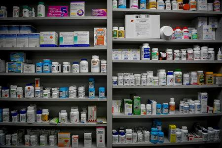 FILE PHOTO: Bottles of medications line the shelves at a pharmacy in Portsmouth, Ohio, U.S. on June 21, 2017. REUTERS/Bryan Woolston/File Photo