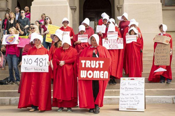 PHOTO: Dozens of demonstrators protested against the 'heartbeat bill' legislation at the Georgia State Capitol building, March 15, 2019.<p>(Splash News)