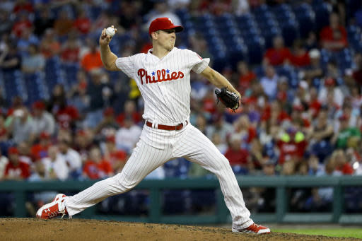 Philadelphia Phillies' Nick Pivetta pitches during the fourth inning of a baseball game against the Atlanta Braves, Monday, May 21, 2018, in Philadelphia. (AP Photo/Matt Slocum)