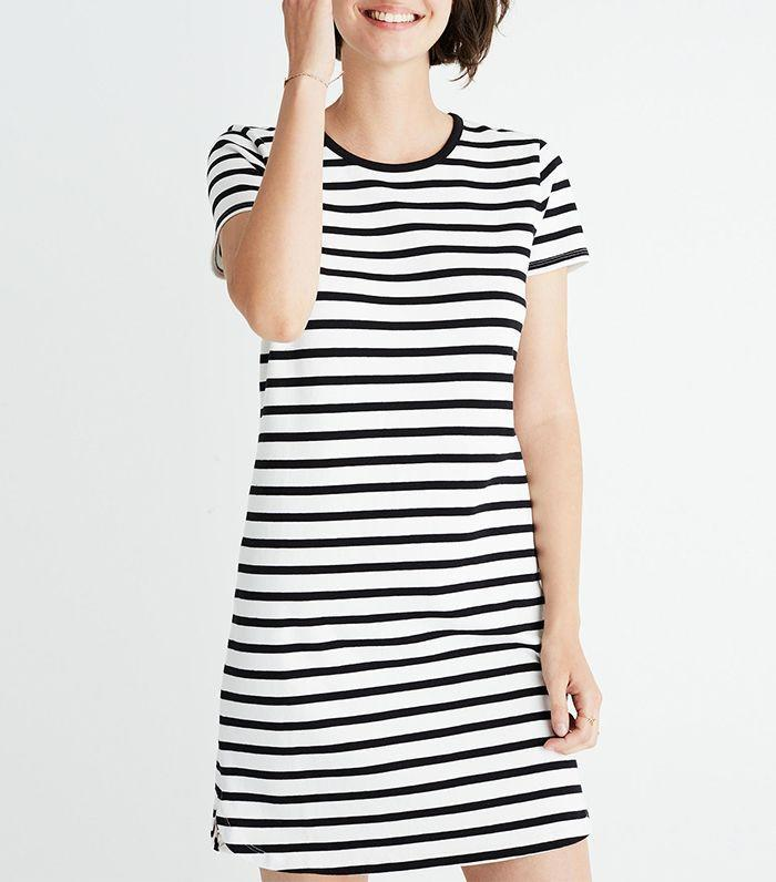 Style this standard striped dress with sneakers or sandals.