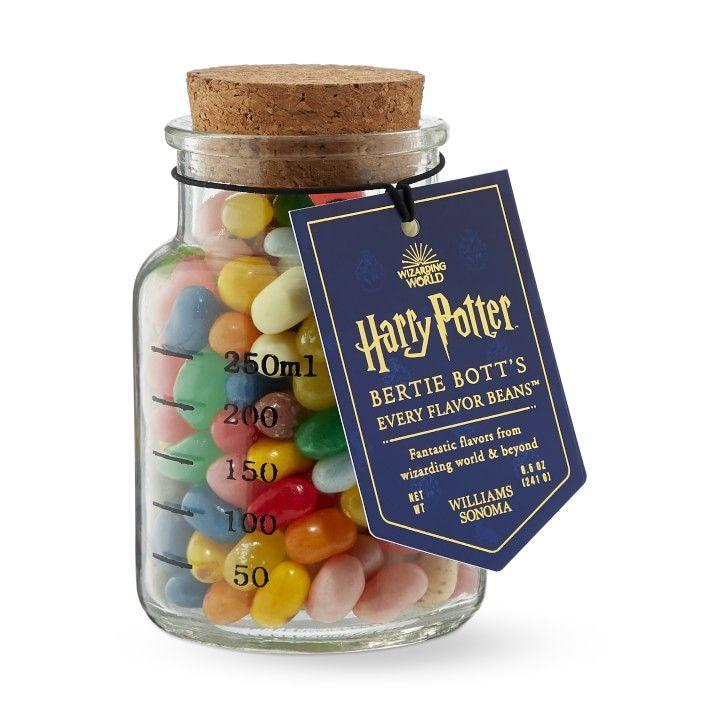 """<p><strong>Harry Potter</strong></p><p>williams-sonoma.com</p><p><strong>$27.95</strong></p><p><a href=""""https://go.redirectingat.com?id=74968X1596630&url=https%3A%2F%2Fwww.williams-sonoma.com%2Fproducts%2Fharry-potter-bertie-bott-beans&sref=https%3A%2F%2Fwww.goodhousekeeping.com%2Fholidays%2Fgift-ideas%2Fg23595566%2Fharry-potter-gifts%2F"""" rel=""""nofollow noopener"""" target=""""_blank"""" data-ylk=""""slk:Shop Now"""" class=""""link rapid-noclick-resp"""">Shop Now</a></p><p>Good news: You don't have to go all the way to Honeydukes to get a taste of Bertie Bott's jelly beans. These candies aren't for the faint of heart since 40% of the jar is filled with crazy flavors (think soap and earwax), while the rest are fruity flavors. </p>"""