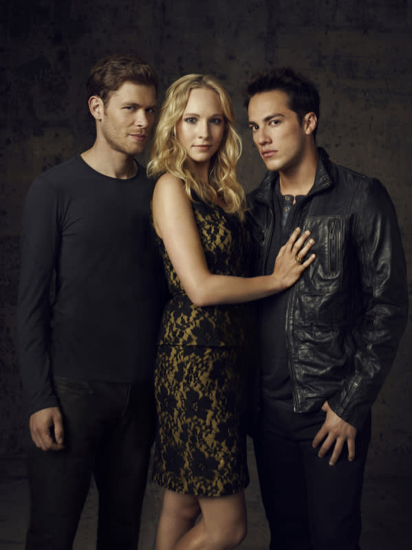 """The Vampire Diaries"" -- Joseph Morgan as Klaus, Candice Accola as Caroline and Michael Trevino as Tyler"