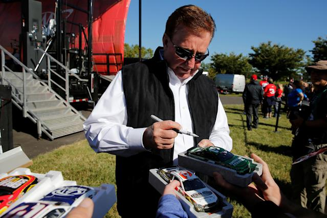 Race team owner Richard Childress signs autographs for fans before the Monster Energy NASCAR Cup Series Apache Warrior 400 race at Dover International Speedway in Dover, Delaware, U.S. October 1, 2017. REUTERS/Jonathan Ernst