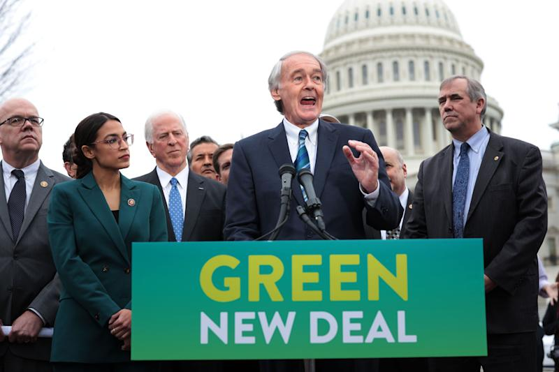 Sen. Ed Markey (D-Mass.) unveils the Green New Deal resolution alongside Rep. Alexandria Ocasio-Cortez (D-N.Y.) in Feb. 2019. (Photo: Alex Wong/Getty Images)