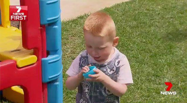 Sam and his beloved blue ball. Source: 7News