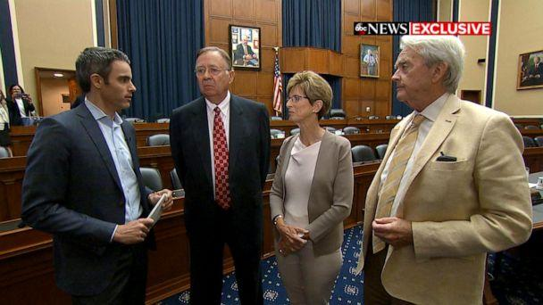PHOTO: ABC News Senior Washington Reporter Devin Dwyer, left, interviews three Republican former EPA administrators, Lee Thomas, Christine Todd Whitman and William Reilly, on Capitol Hill. (ABC News)