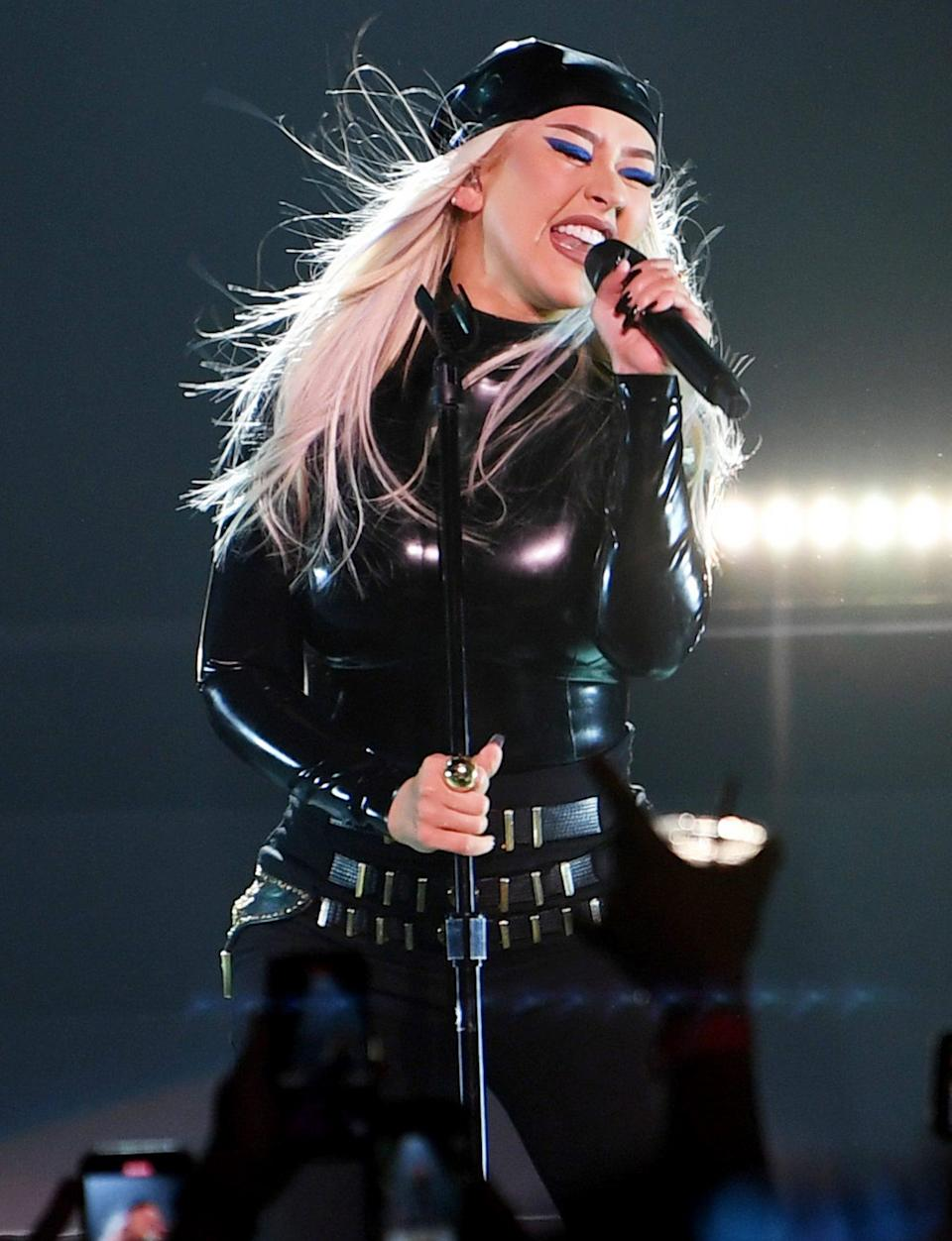 <p>Christina Aguilera takes the stage during the Unstoppable Weekend grand opening celebration at The Theater at Virgin Hotels Las Vegas on June 10. </p>