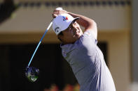 Kyoung-Hoon Lee tees off on the fifth hole during the final round of a PGA golf tournament on Sunday, Feb. 7, 2021, in Scottsdale, Ariz. (AP Photo/Rick Scuteri)