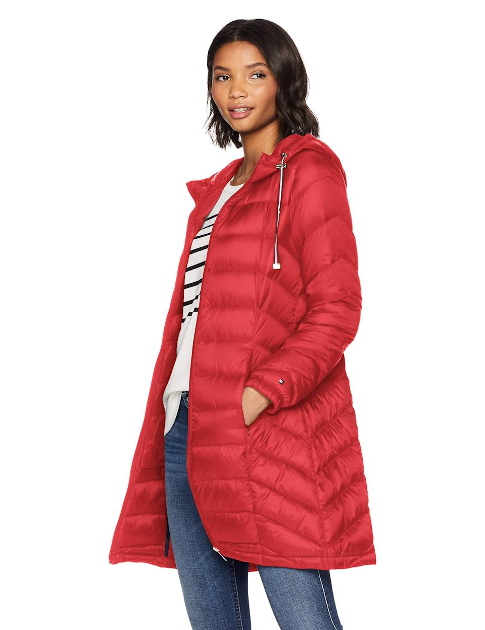 "<br><br><strong>Tommy Hilfiger</strong> Mid Length Packable Down Chevron Quilt Coat, $, available at <a href=""https://amzn.to/34as6OA"" rel=""nofollow noopener"" target=""_blank"" data-ylk=""slk:Amazon"" class=""link rapid-noclick-resp"">Amazon</a>"