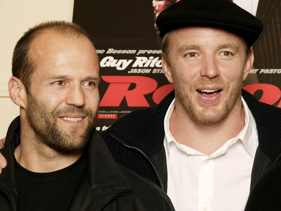 """LONDON - SEPTEMBER 20:  (UK TABLOID NEWSPAPERS OUT) Actor Jason Statham (L) and director Guy Ritchie attend the press conference for """"Revolver"""" ahead of this evening's UK Premiere, at the Dorchester Hotel on September 20, 2005 in London, England.  (Photo by Gareth Davies/Getty Images)"""