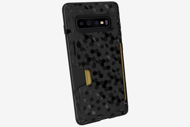 Photograph shows the Samsung Galaxy S10 phone with the black Smartish Silk Wallet Case and a card inside