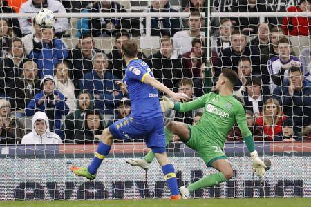 Leeds United's Chris Wood scores their first goal