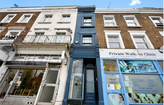 The property is squeezed between a walk-in clinic and a hair salon that has shuttered. Photo: Winkworth