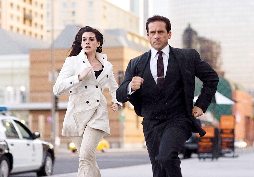 "Anne Hathaway and Steve Carell played a less scandalous double-spy couple in the 2008 film version of ""Get Smart."" The 20-year age difference between the ""The Princess Diaries"" starlet and ""The Office"" boss made the romance of bumbling Maxwell Smart and whip smart Agent 99 somewhat ridiculous, but the rest of their adventures were a lot of fun to watch! ©Warner Bros/courtesy Everett Collection"