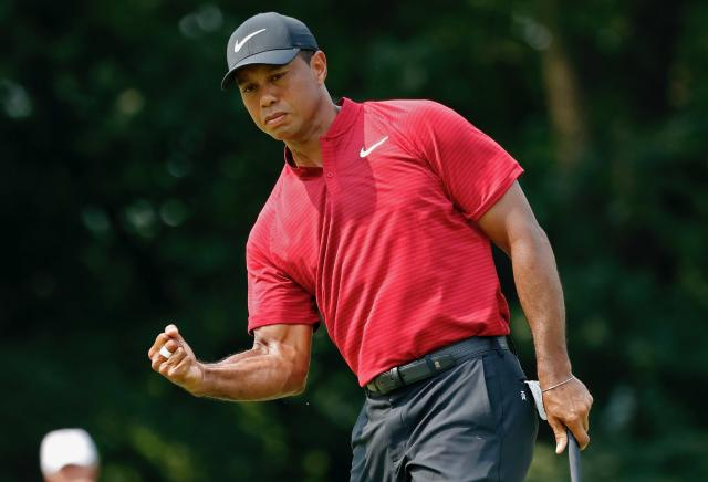 The Tiger Woods fist pump was back at the PGA Championship on Sunday, and so were the ratings. (AP)